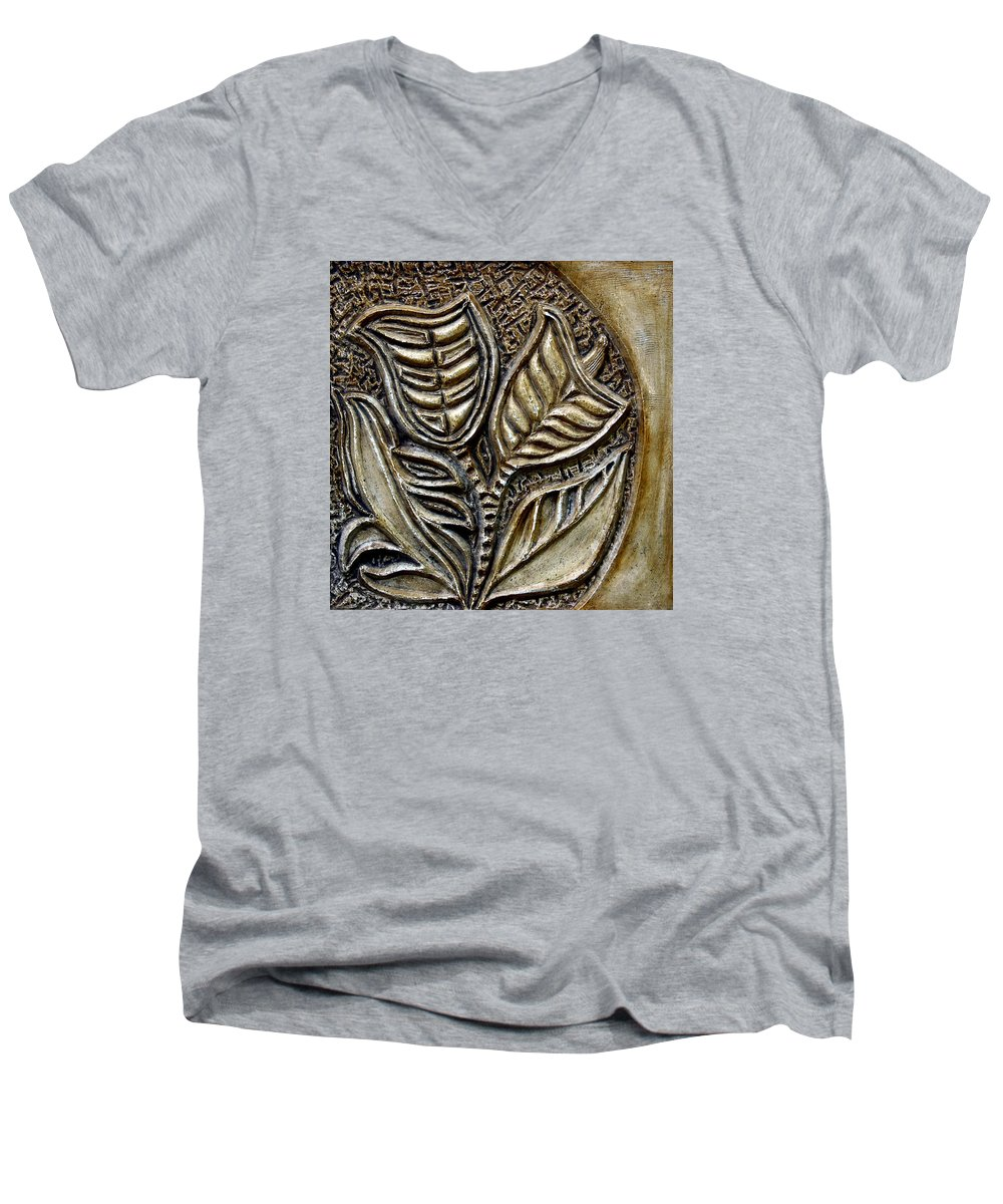 Vintaje Men's V-Neck T-Shirt featuring the relief Vintaje Tile With Calas by Madalena Lobao-Tello