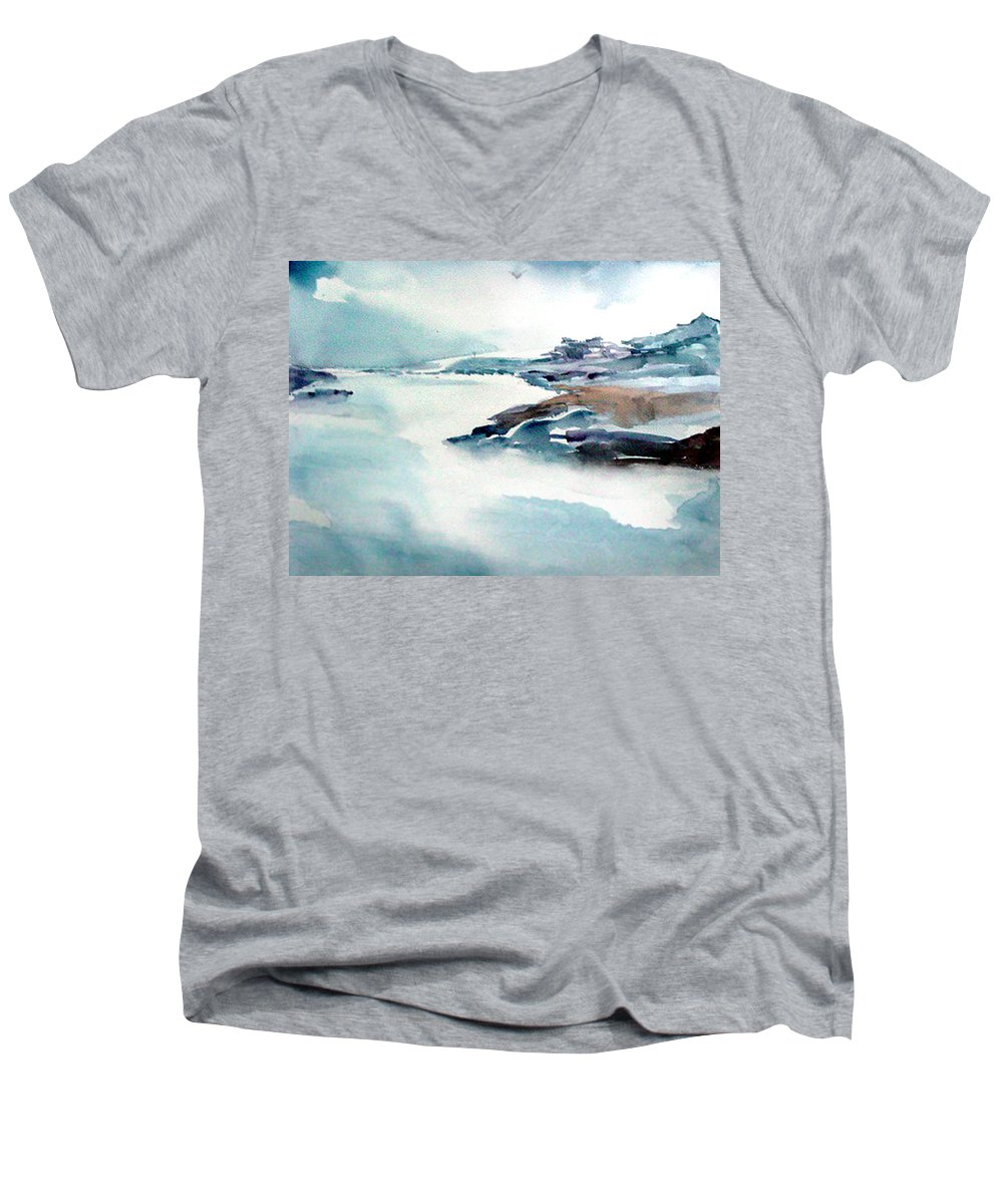 River Men's V-Neck T-Shirt featuring the painting Mystic River by Anil Nene