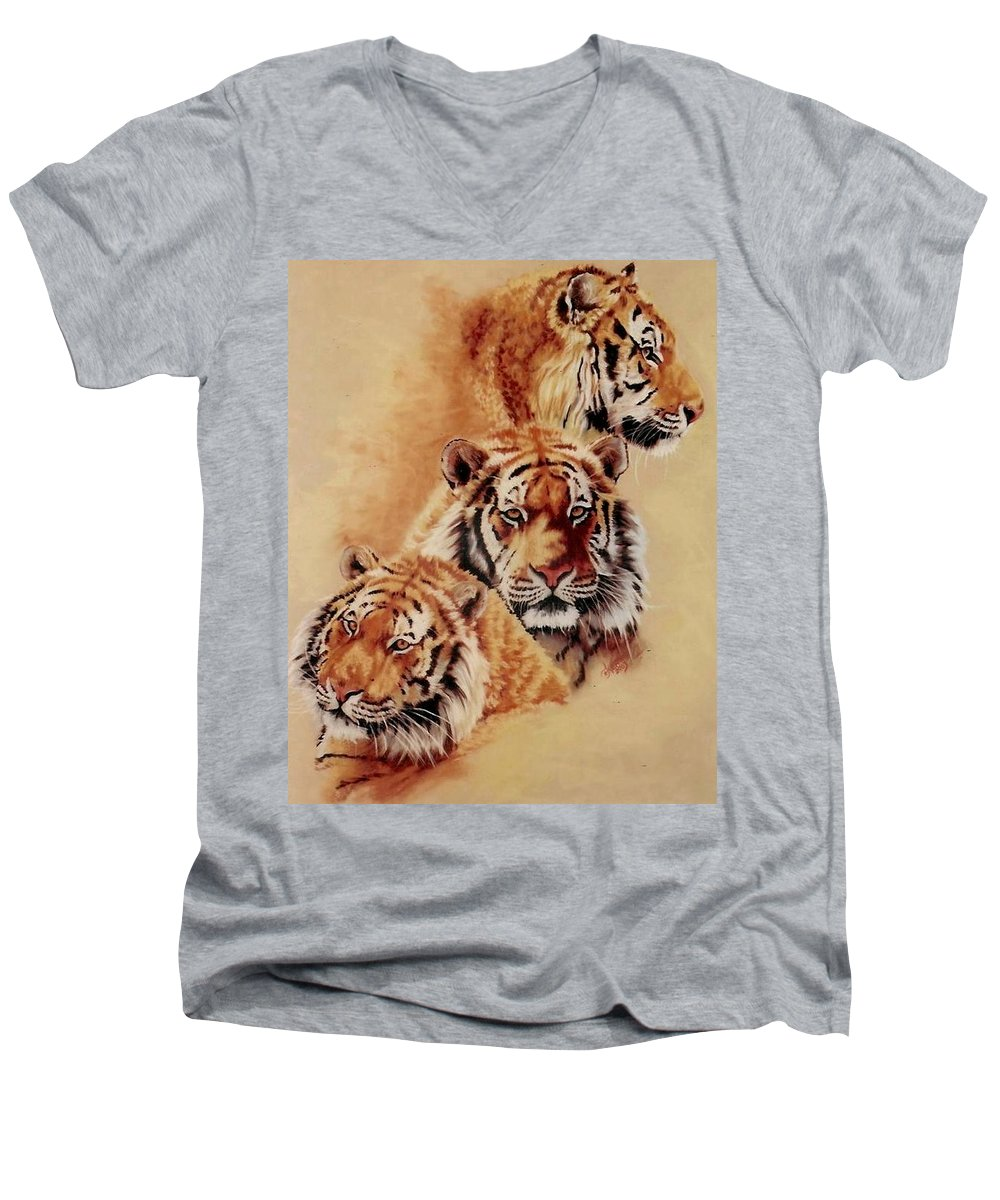 Tiger Men's V-Neck T-Shirt featuring the pastel Nanook by Barbara Keith