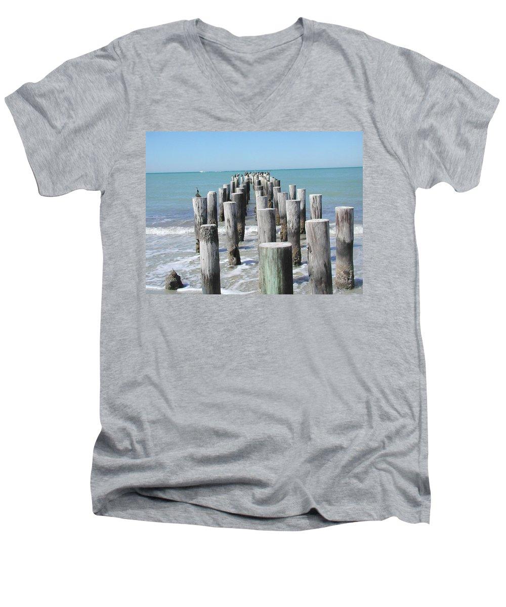Ocean Men's V-Neck T-Shirt featuring the photograph Naples Pier by Tom Reynen
