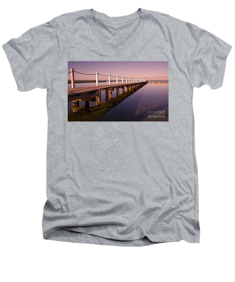 Narrabeen Sydney Sunrise Wharf Walkway Men's V-Neck T-Shirt featuring the photograph Narrabeen Sunrise by Sheila Smart Fine Art Photography
