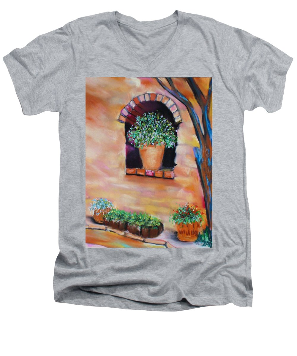 Courtyard Men's V-Neck T-Shirt featuring the painting Nash's Courtyard by Melinda Etzold