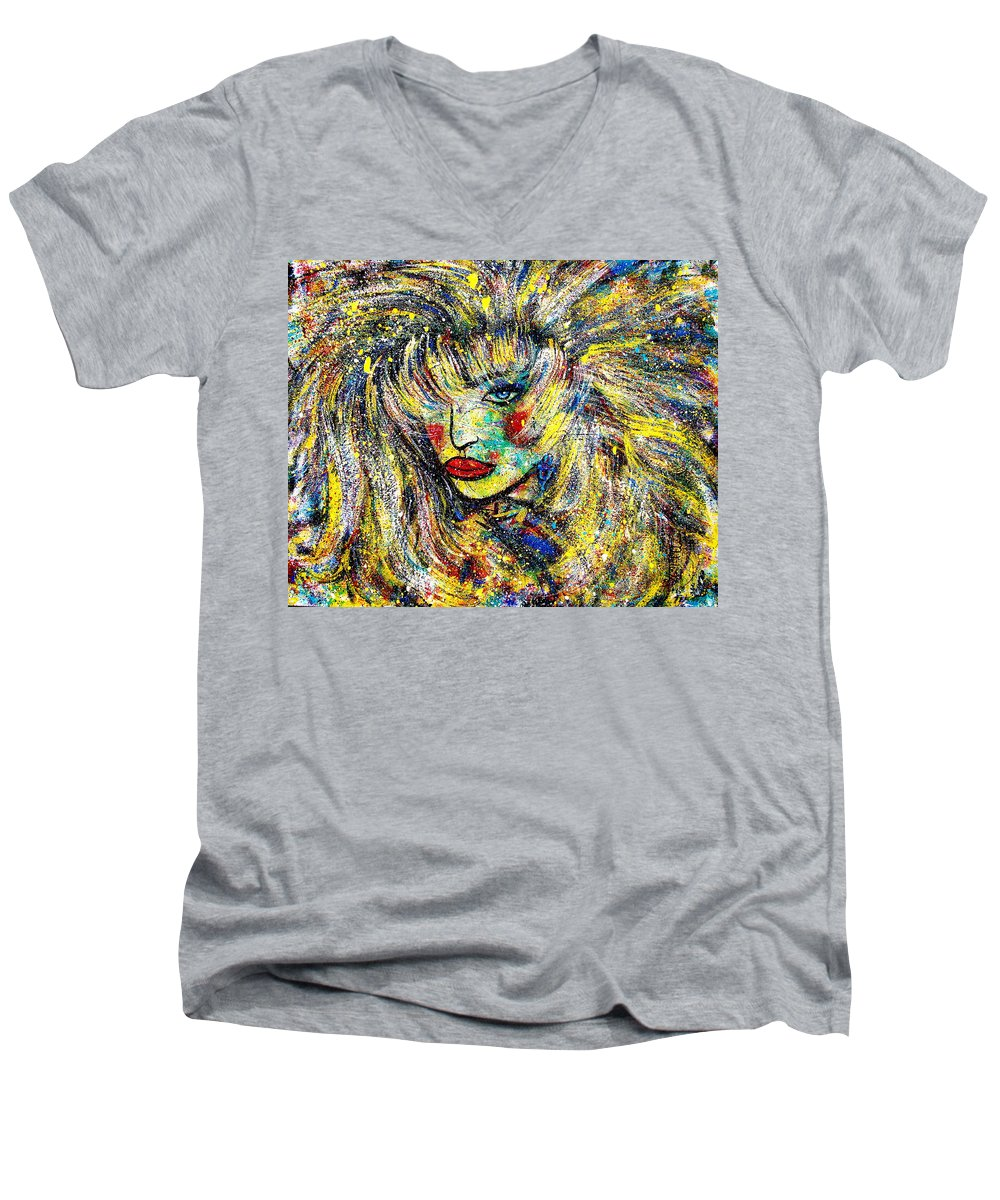 Portrait Men's V-Neck T-Shirt featuring the painting Natalya by Natalie Holland