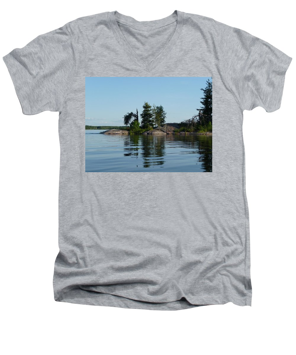Lake Men's V-Neck T-Shirt featuring the photograph Natural Breakwater by Ruth Kamenev