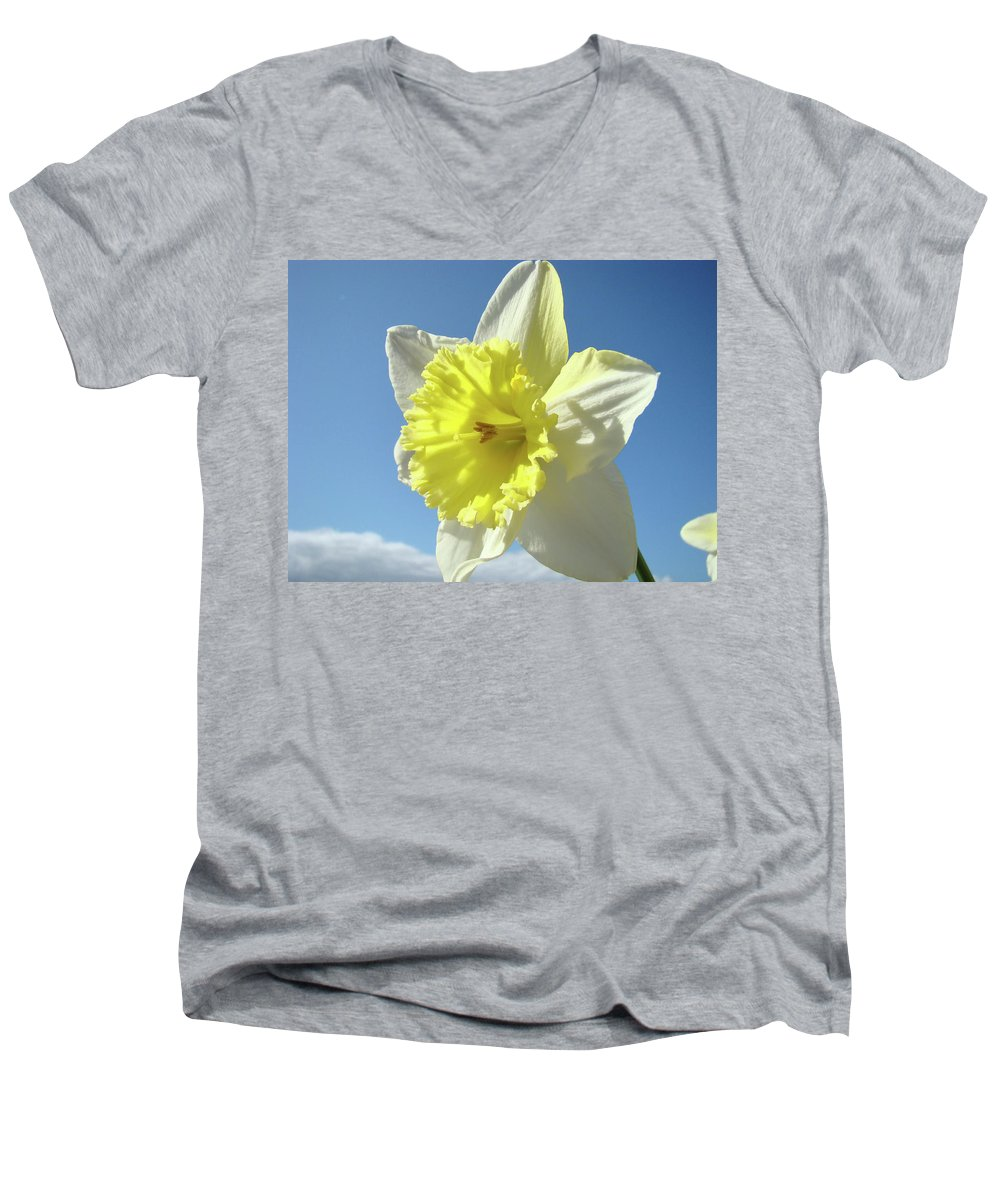 �daffodils Artwork� Men's V-Neck T-Shirt featuring the photograph Nature Daffodil Flowers Art Prints Spring Nature Art by Baslee Troutman
