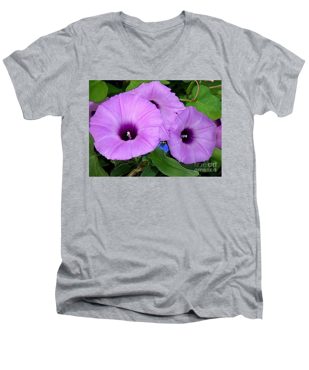 Nature Men's V-Neck T-Shirt featuring the photograph Nature In The Wild - Morning Bells by Lucyna A M Green