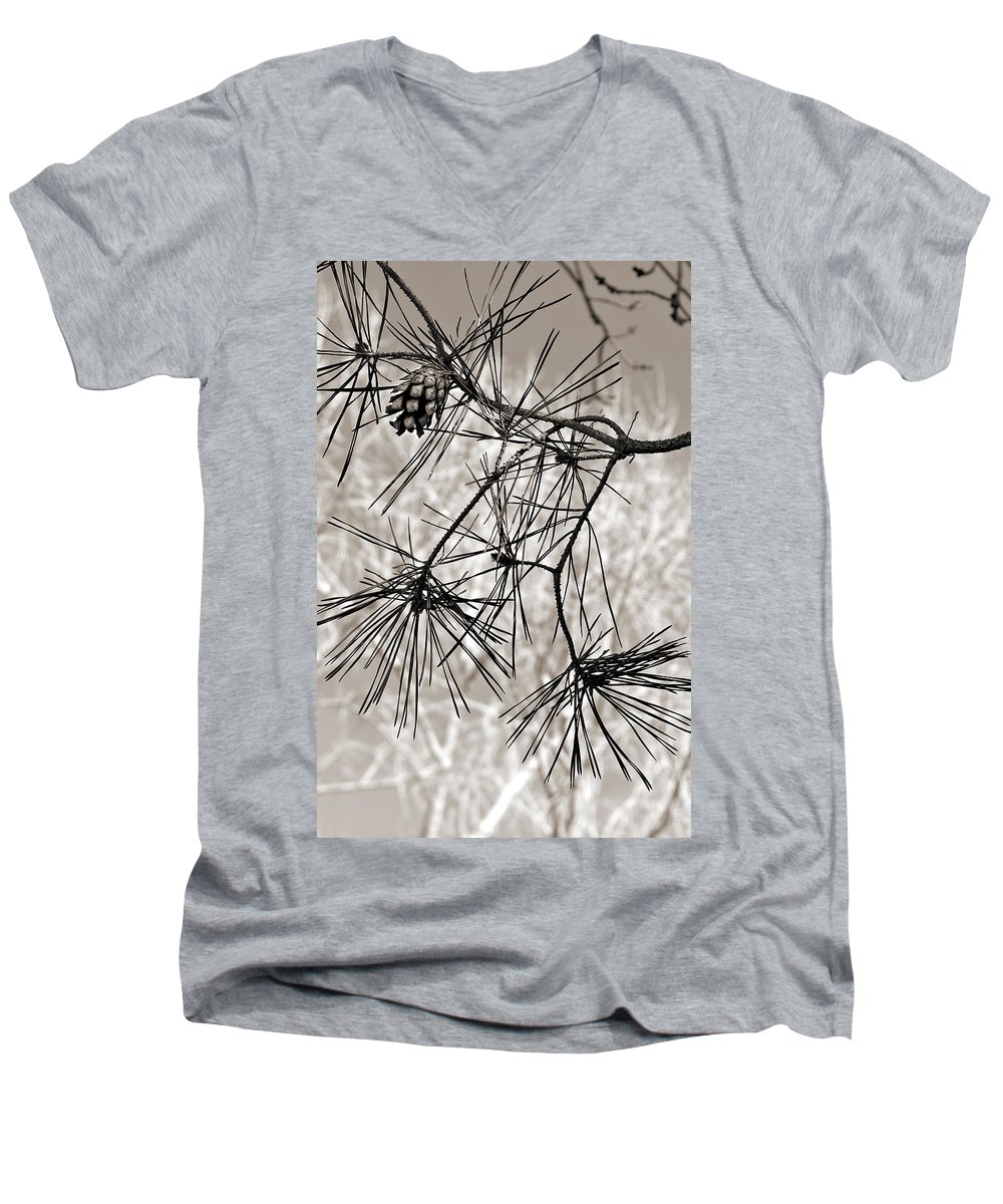 Tree Men's V-Neck T-Shirt featuring the photograph Needles Everywhere by Marilyn Hunt