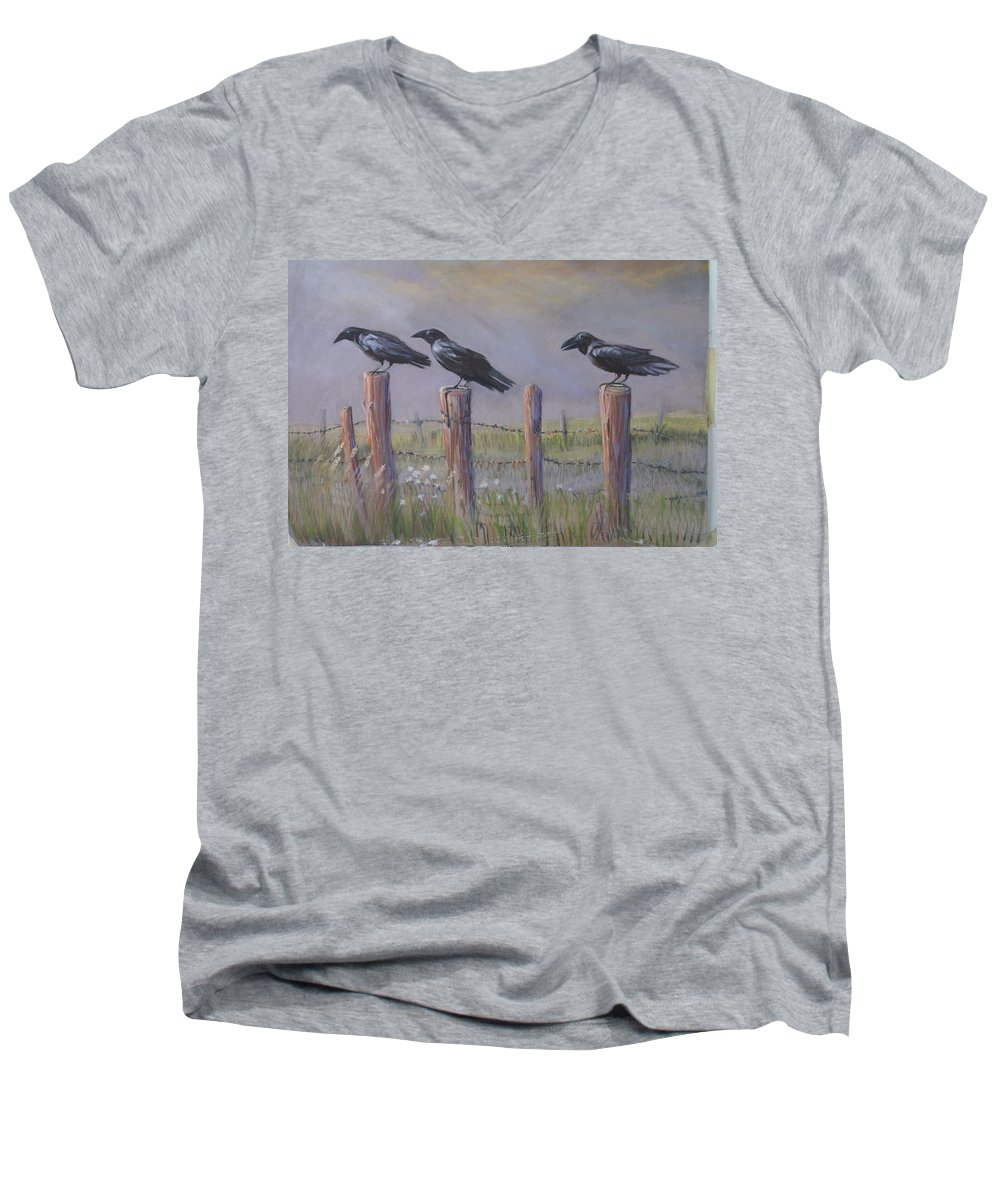 Crows Men's V-Neck T-Shirt featuring the painting Neighborhood Watch by Heather Coen