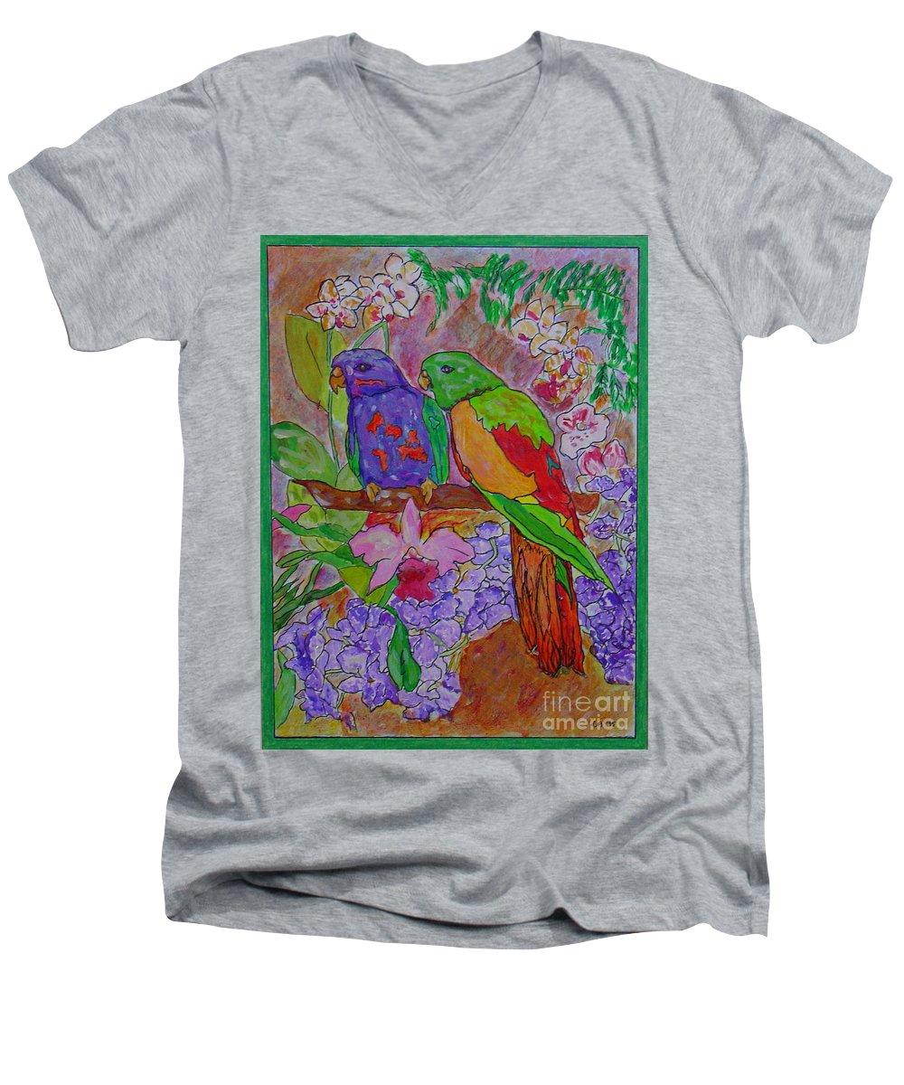 Tropical Pair Birds Parrots Original Illustration Leilaatkinson Men's V-Neck T-Shirt featuring the painting Nesting by Leila Atkinson
