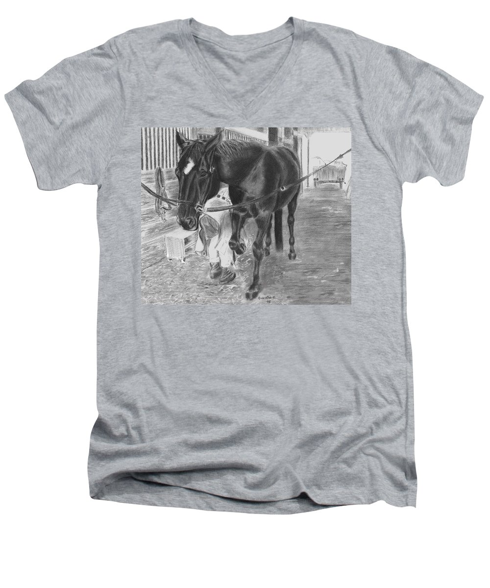 Horse Men's V-Neck T-Shirt featuring the drawing New Shoes by Quwatha Valentine