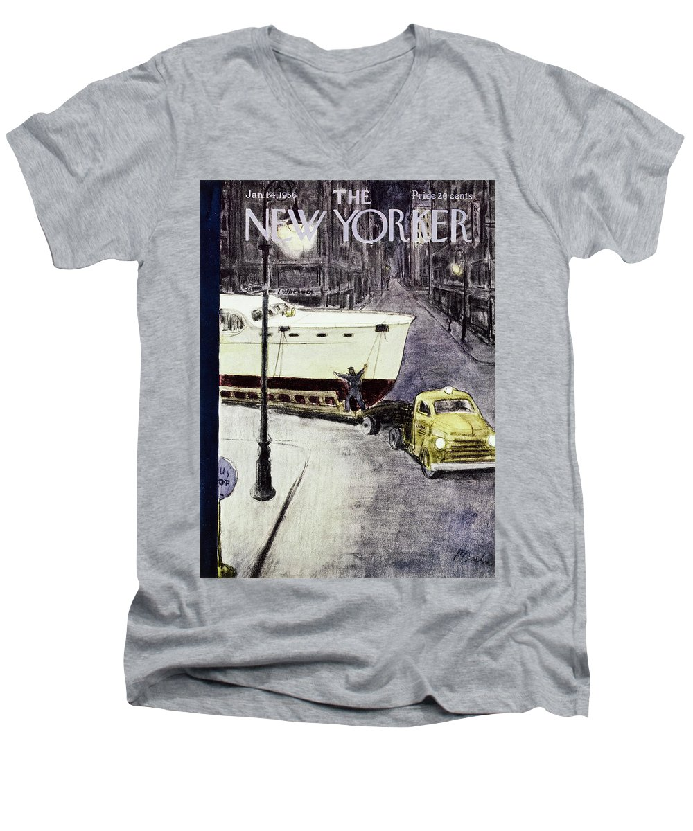Yacht Men's V-Neck T-Shirt featuring the painting New Yorker January 14 1956 by Perry Barlow