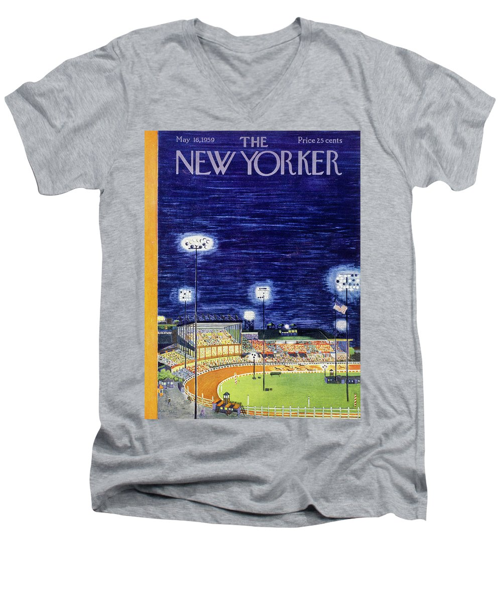 Arena Men's V-Neck T-Shirt featuring the painting New Yorker May 16 1959 by Ilonka Karasz