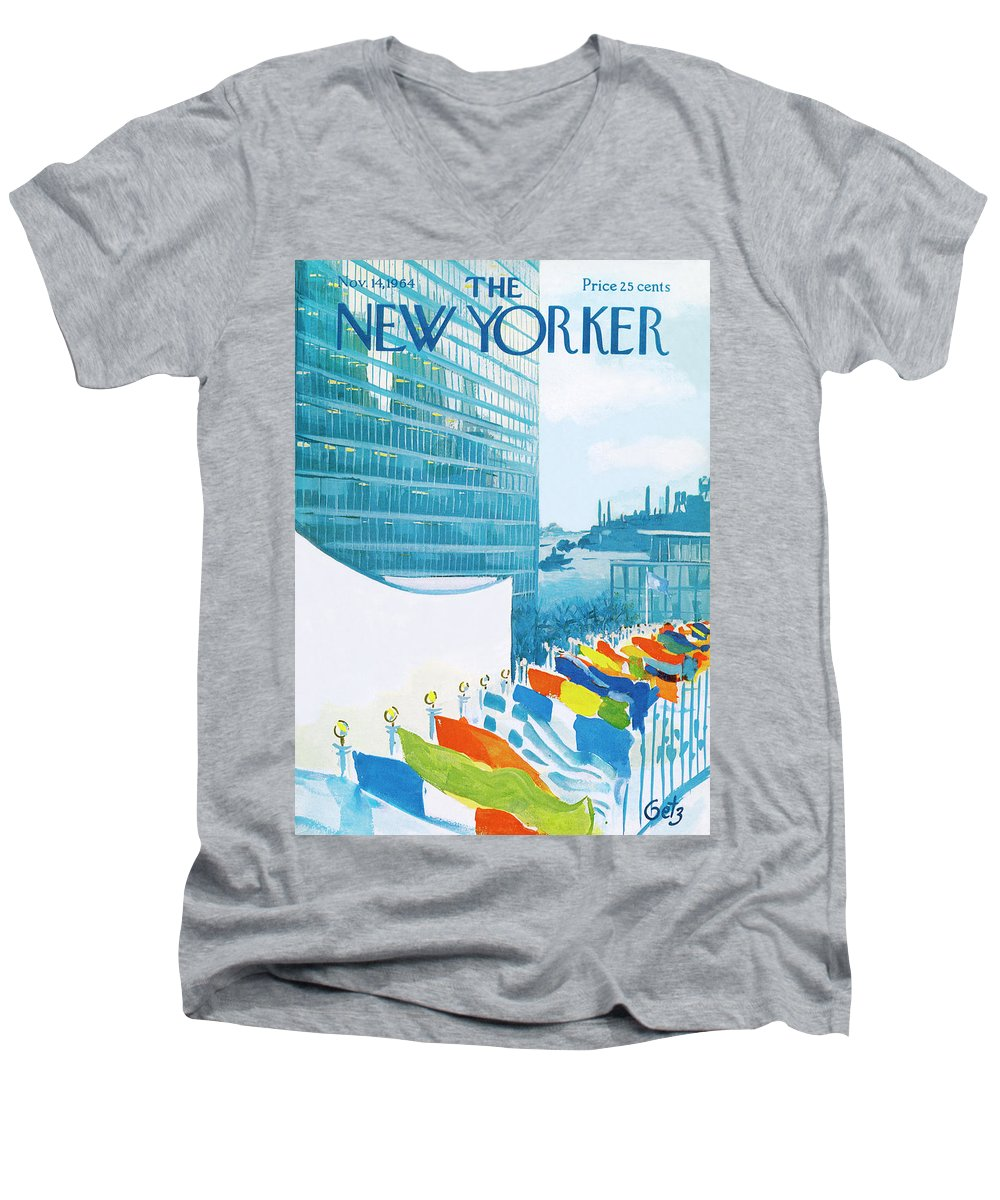 Urban Men's V-Neck T-Shirt featuring the painting New Yorker November 14th, 1964 by Arthur Getz