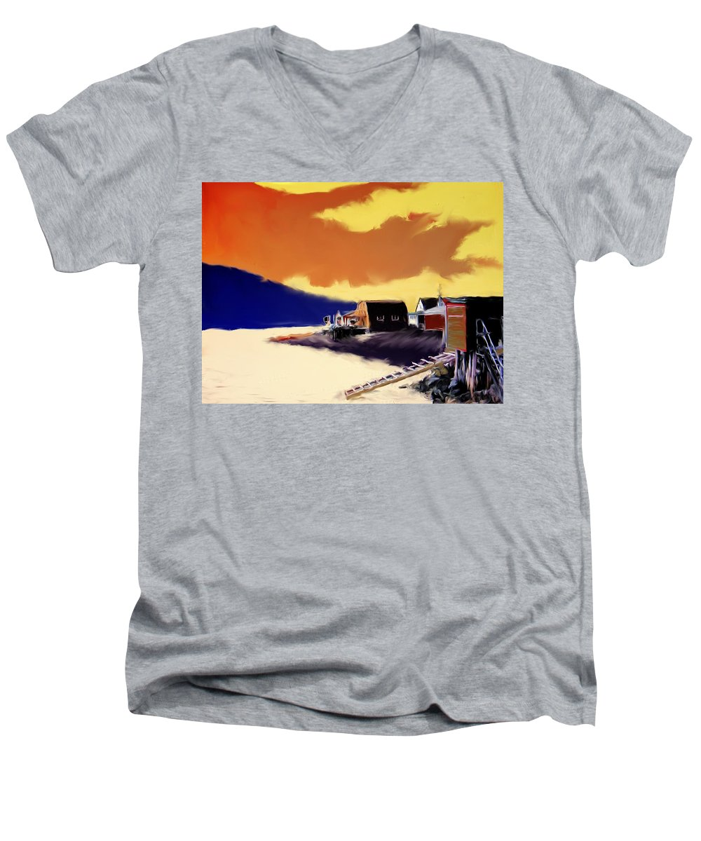 Newfoundland Men's V-Neck T-Shirt featuring the photograph Newfoundland Fishing Shacks by Ian MacDonald