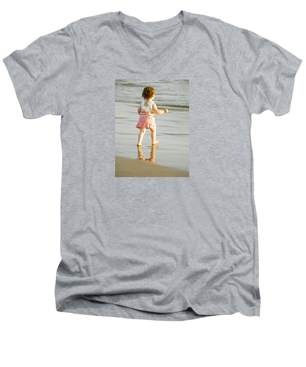 Beach Men's V-Neck T-Shirt featuring the photograph No Fear by Margie Wildblood