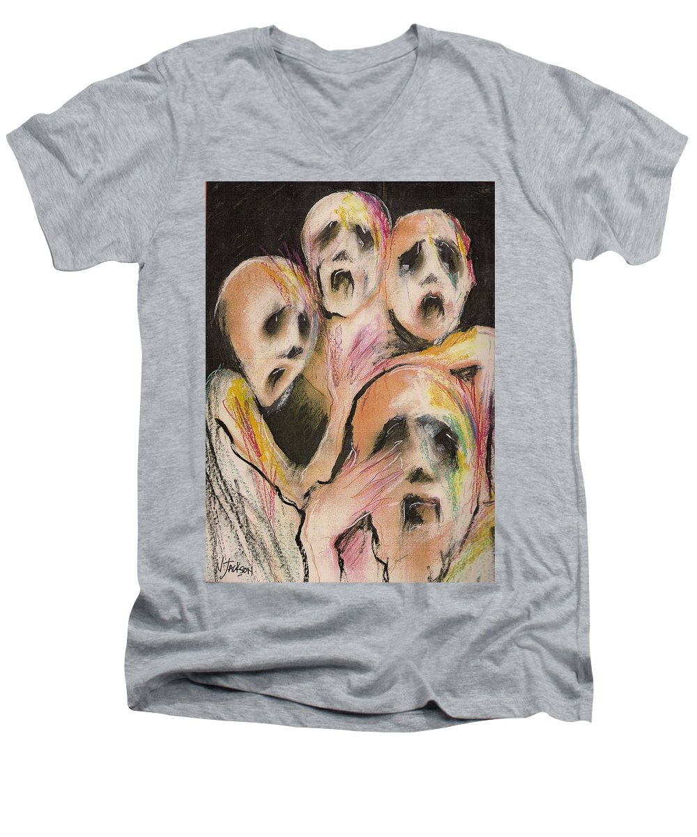 War Cry Tears Horror Fear Darkness Men's V-Neck T-Shirt featuring the mixed media No Words by Veronica Jackson