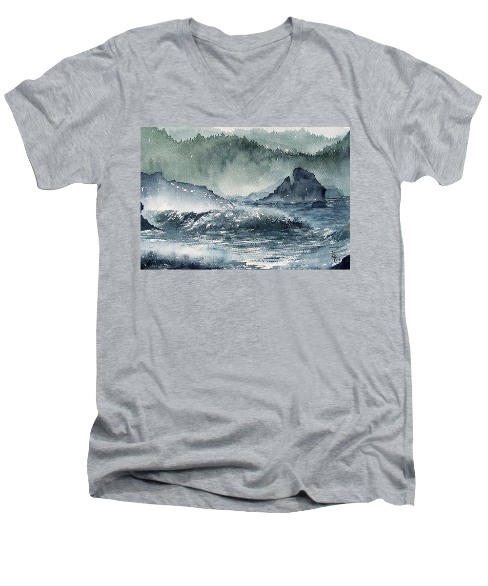 Ocean Men's V-Neck T-Shirt featuring the painting Northern California Coast by Gale Cochran-Smith