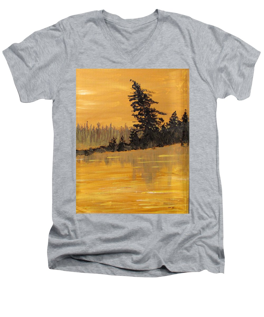 Northern Ontario Men's V-Neck T-Shirt featuring the painting Northern Ontario Three by Ian MacDonald