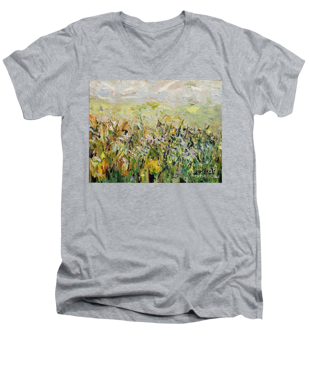Field Paintings Men's V-Neck T-Shirt featuring the painting Nose Hill by Seon-Jeong Kim