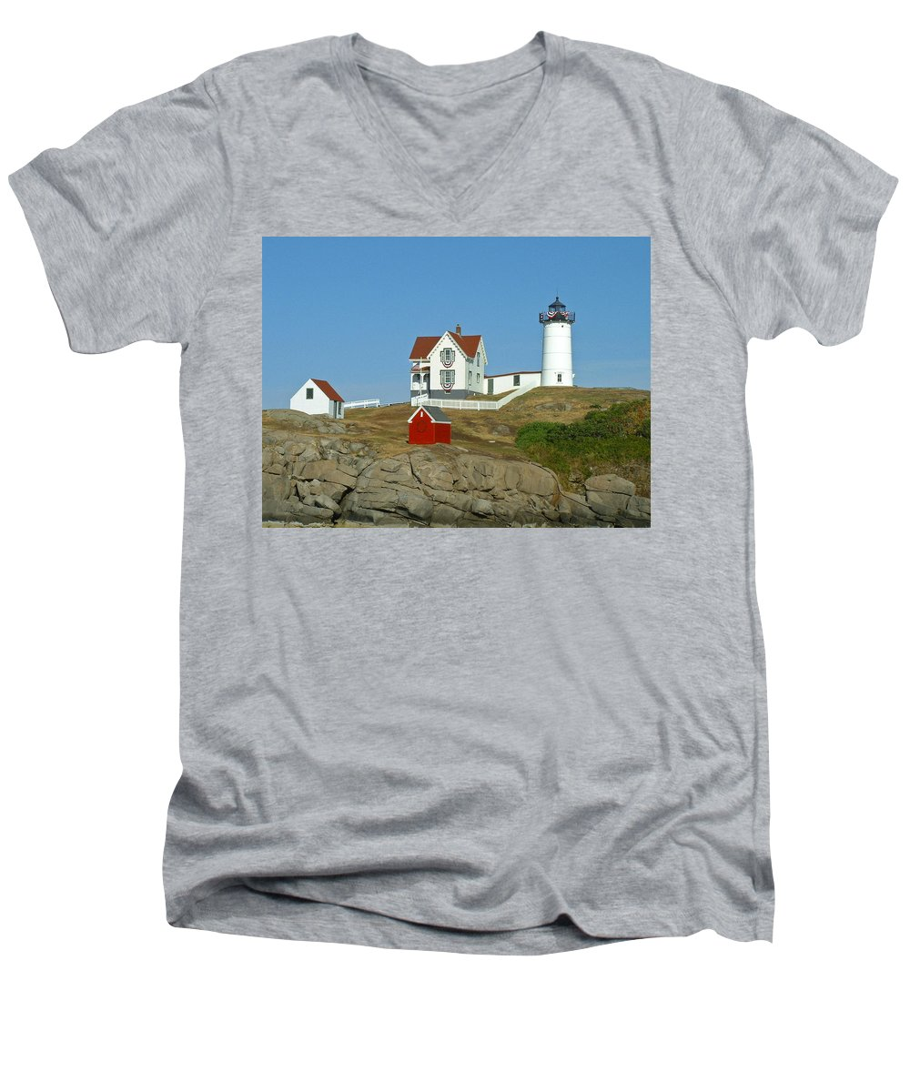 Nubble Men's V-Neck T-Shirt featuring the photograph Nubble Light by Margie Wildblood