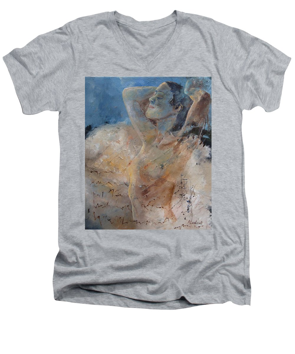 Nude Men's V-Neck T-Shirt featuring the painting Nude 0508 by Pol Ledent