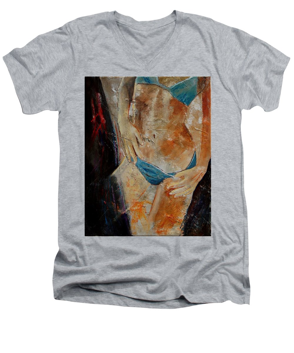 Girl Nude Men's V-Neck T-Shirt featuring the painting Nude 450608 by Pol Ledent