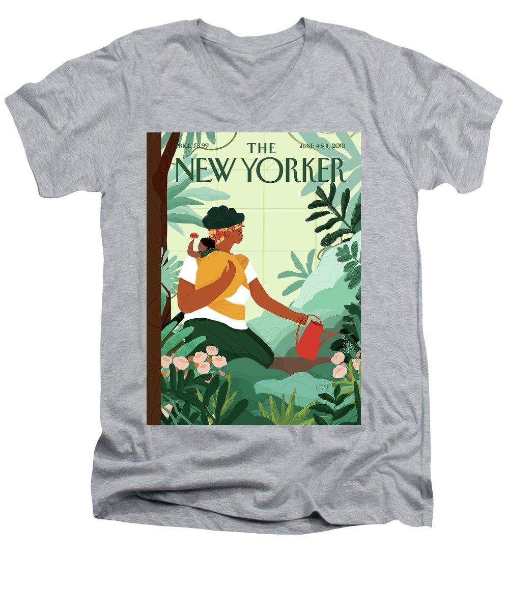 Nurture Men's V-Neck T-Shirt featuring the painting Nurture by Loveis Wise