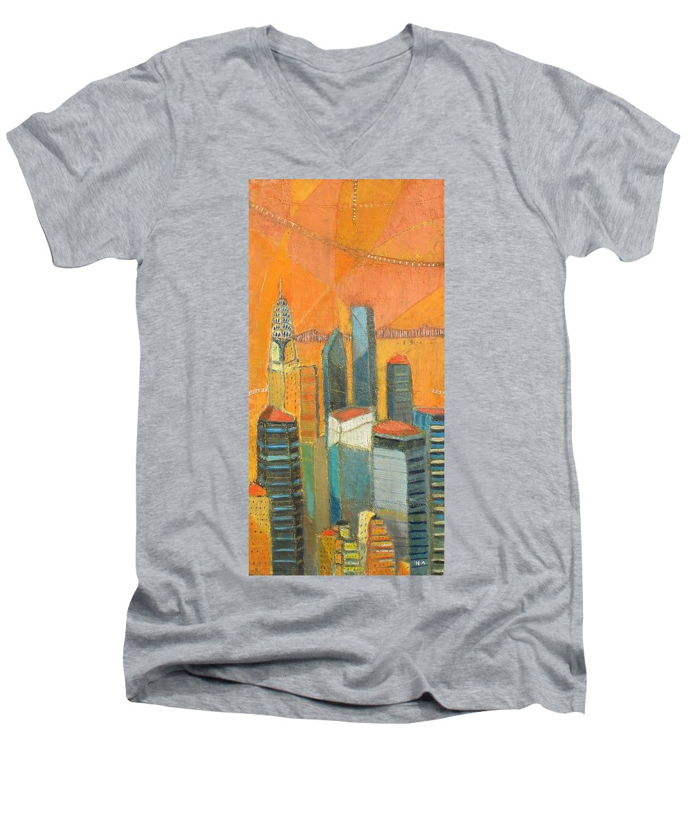 Men's V-Neck T-Shirt featuring the painting Nyc In Orange by Habib Ayat