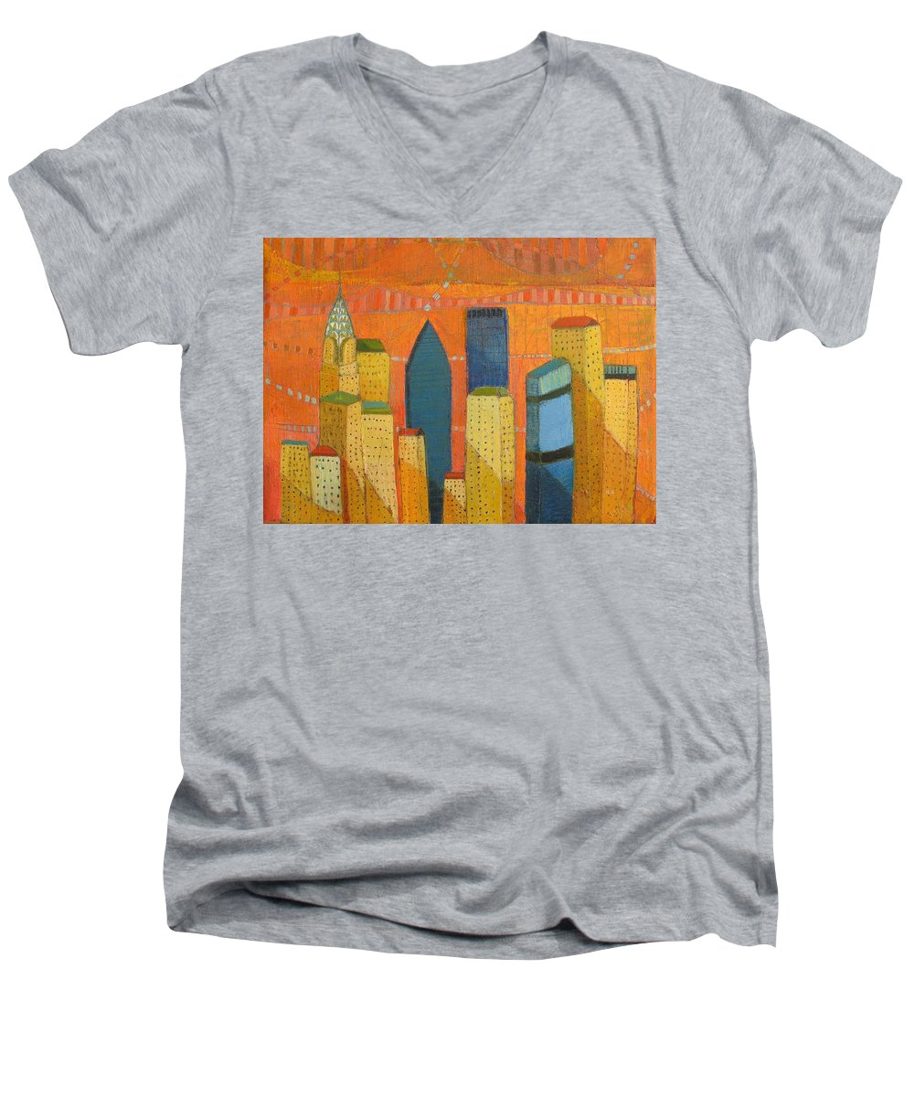 Abstract Cityscape Men's V-Neck T-Shirt featuring the painting Nyc With Chrysler by Habib Ayat