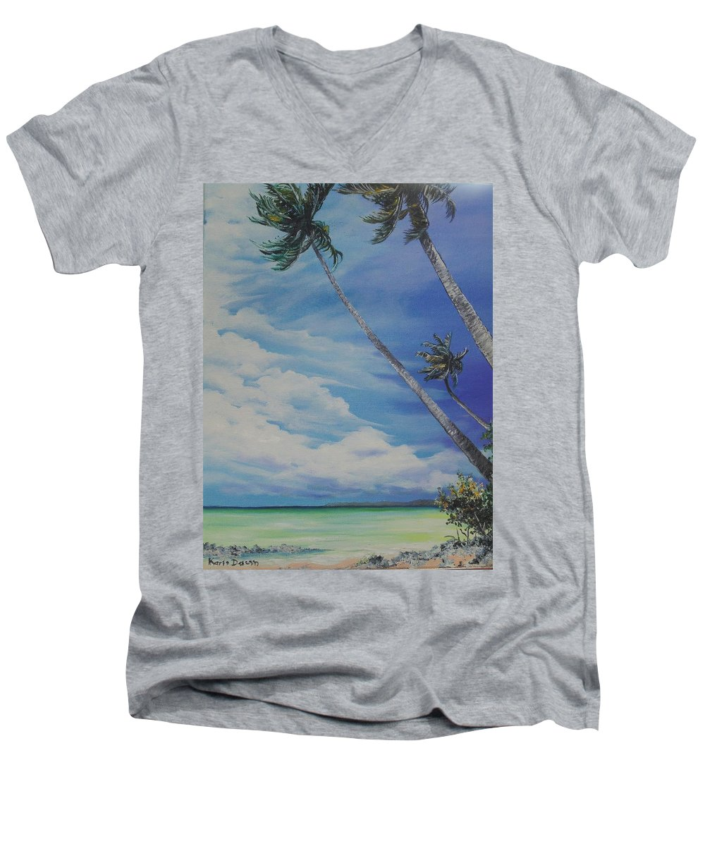 Ocean Painting Seascape Painting Beach Painting Palm Tree Painting Clouds Painting Tobago Painting Caribbean Painting Sea Beach T Obago Palm Trees Men's V-Neck T-Shirt featuring the painting Nylon Pool Tobago. by Karin Dawn Kelshall- Best