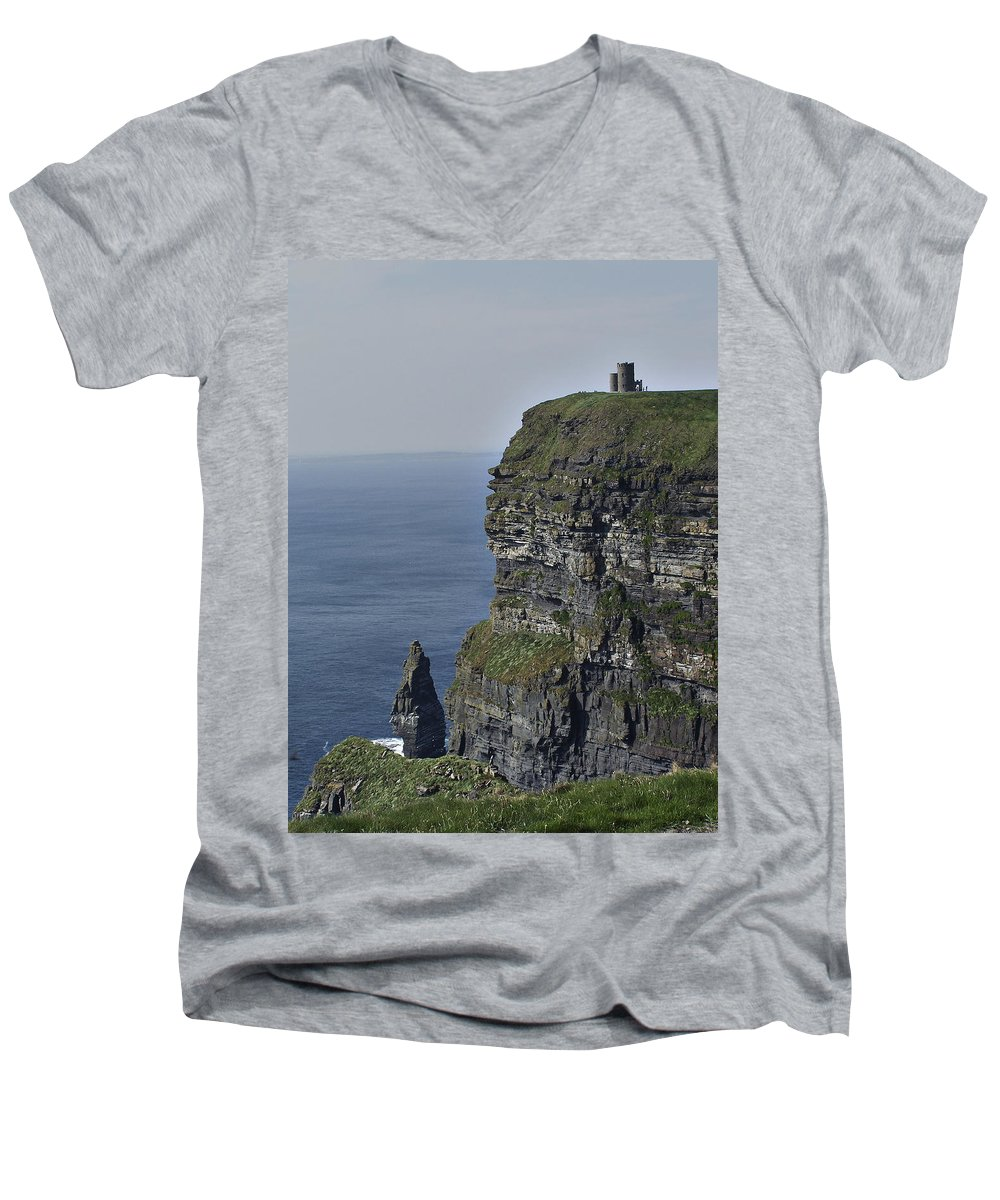Irish Men's V-Neck T-Shirt featuring the photograph O Brien's Tower At The Cliffs Of Moher Ireland by Teresa Mucha