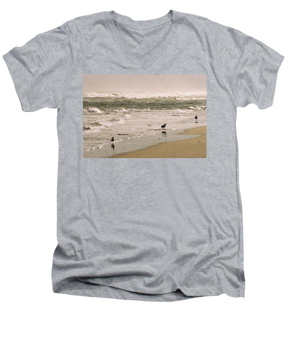 Seascape Men's V-Neck T-Shirt featuring the photograph Ocean Edge by Steve Karol