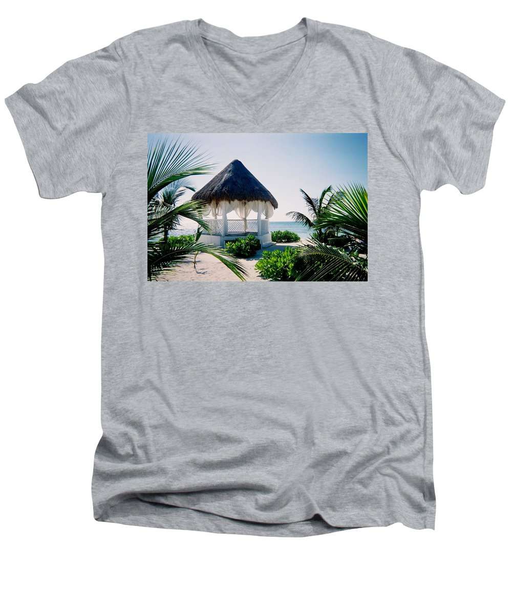 Resort Men's V-Neck T-Shirt featuring the photograph Ocean Gazebo by Anita Burgermeister