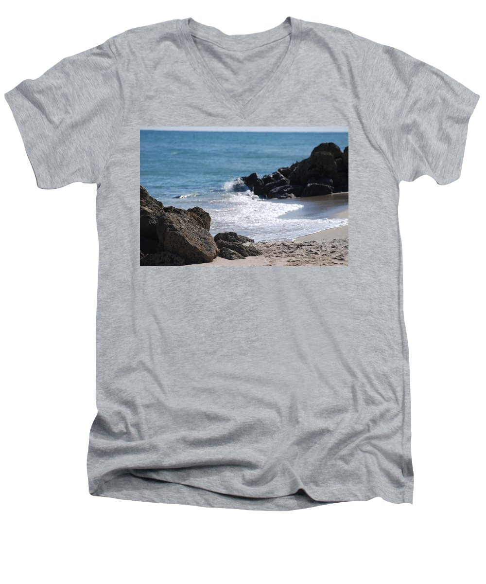 Sea Scape Men's V-Neck T-Shirt featuring the photograph Ocean Rocks by Rob Hans