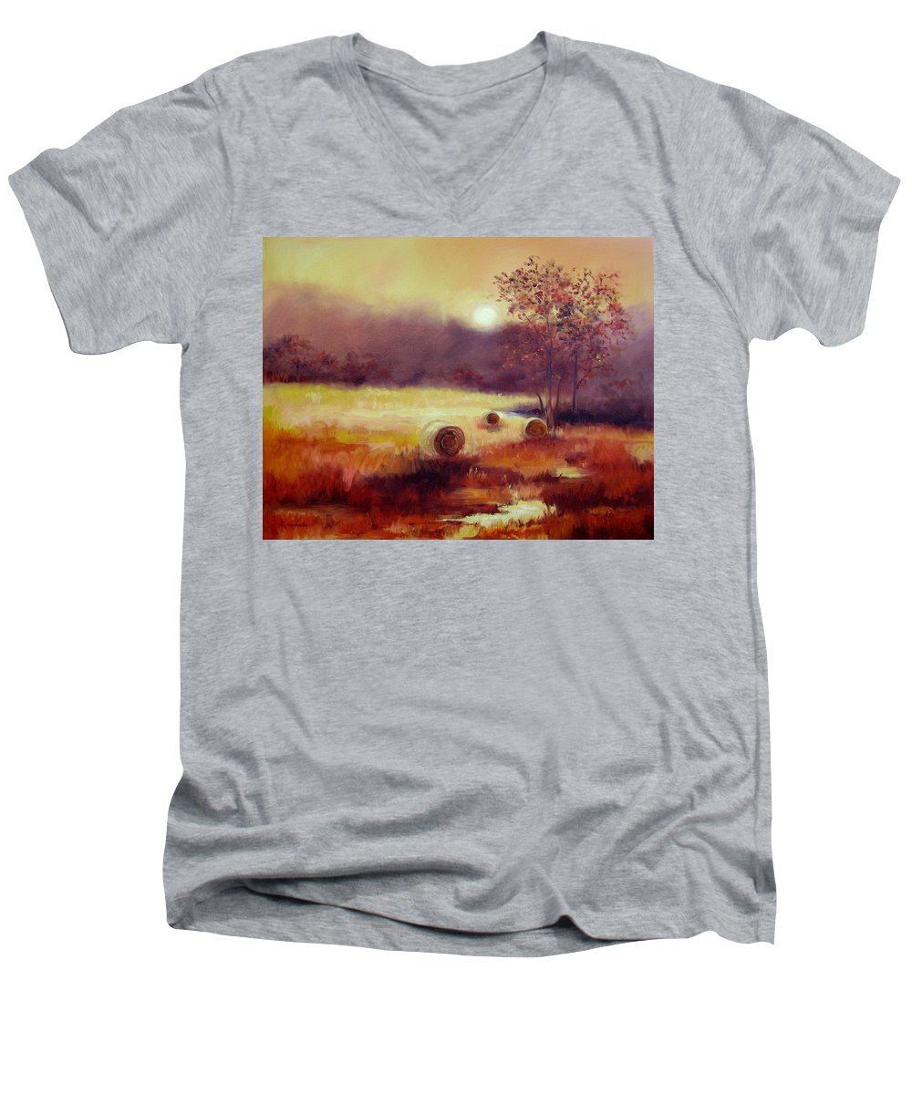 Fall Landscapes Men's V-Neck T-Shirt featuring the painting October Pasture by Ginger Concepcion