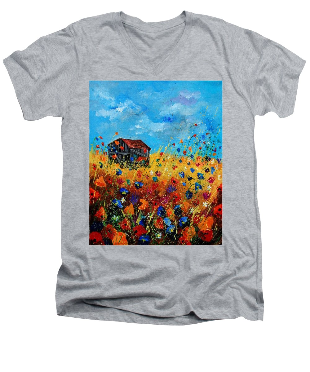 Poppies Men's V-Neck T-Shirt featuring the painting Old Barn by Pol Ledent