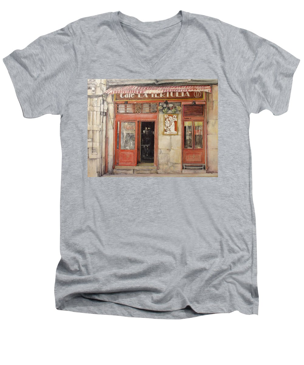 Cafe Men's V-Neck T-Shirt featuring the painting Old Cafe- Santander Spain by Tomas Castano