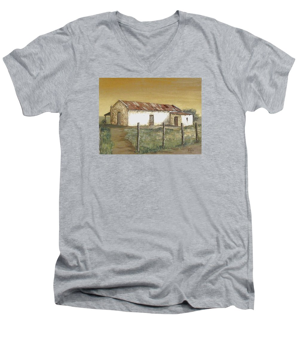 Old House Landscape Country Men's V-Neck T-Shirt featuring the painting Old House by Natalia Tejera