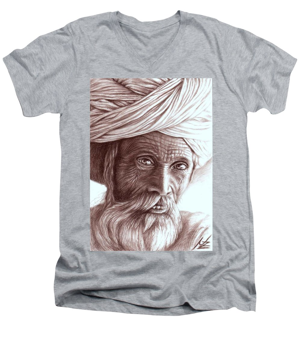 Man Men's V-Neck T-Shirt featuring the drawing Old Indian Man by Nicole Zeug