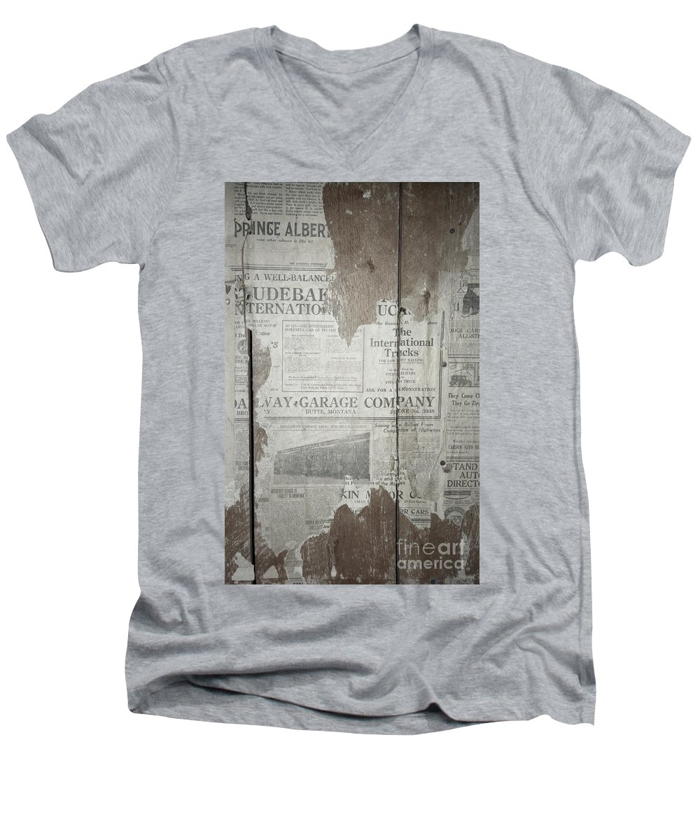 Newspapers Men's V-Neck T-Shirt featuring the photograph Old News by Richard Rizzo