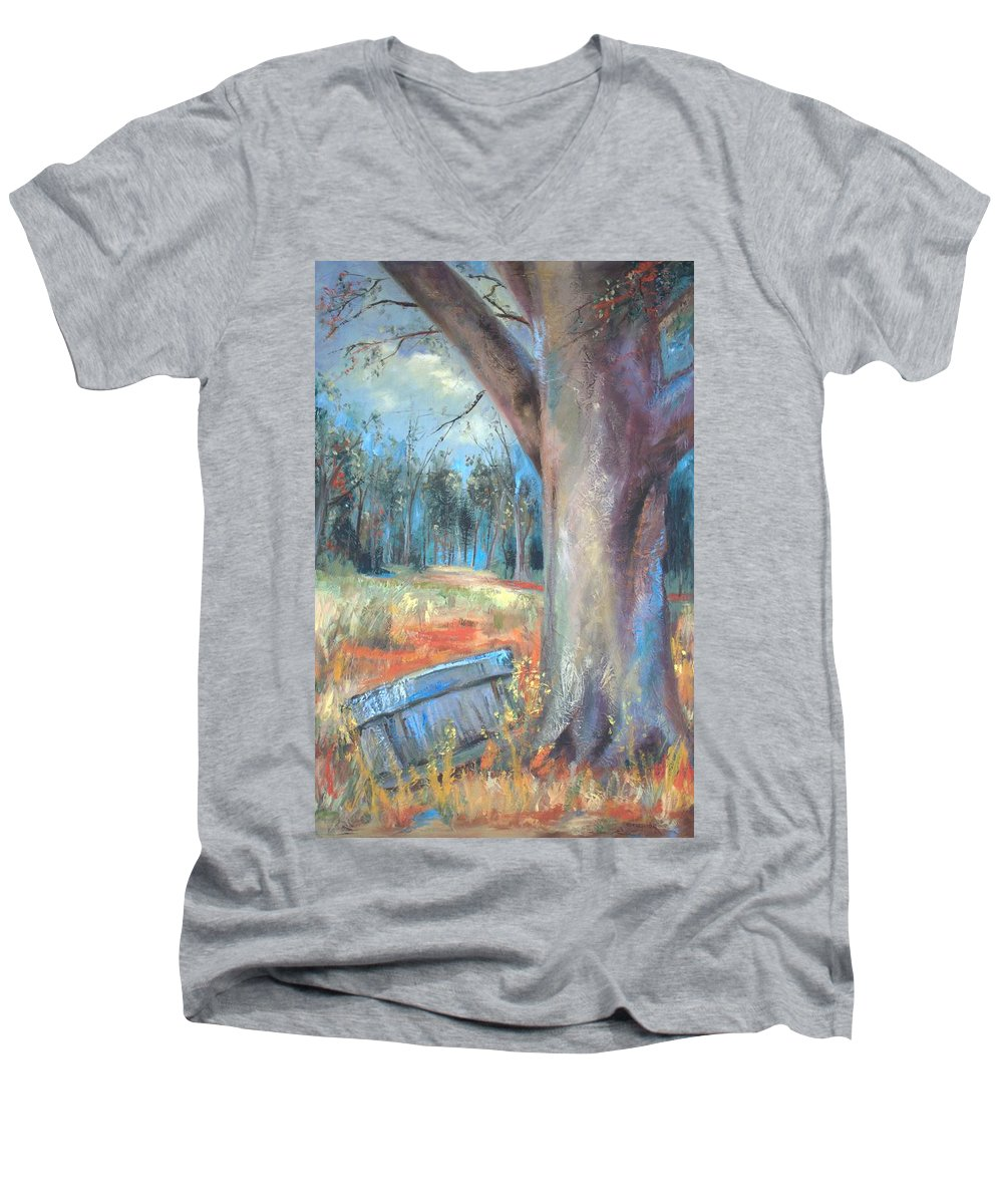 Country Scenes Men's V-Neck T-Shirt featuring the painting Old Times by Ginger Concepcion