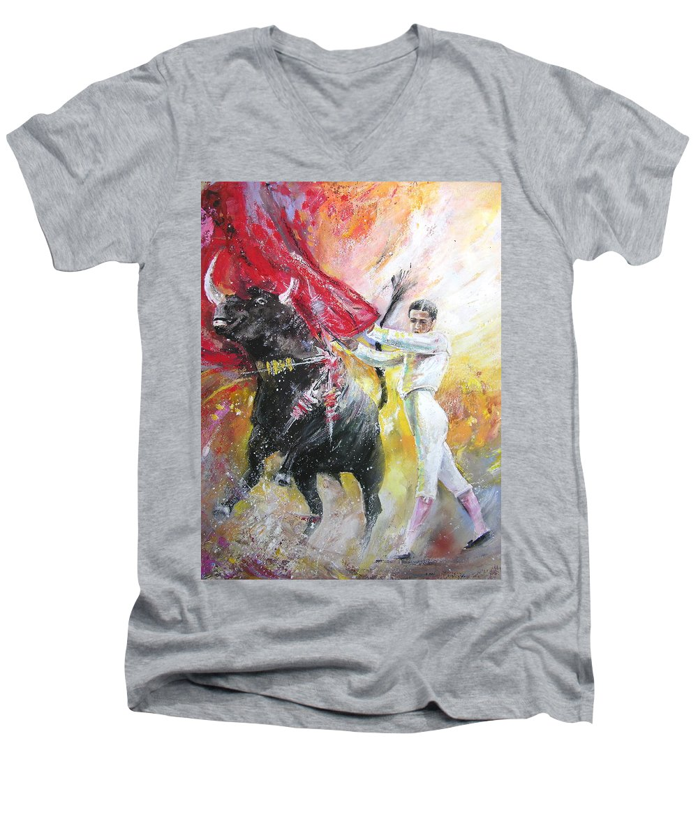 Animals Men's V-Neck T-Shirt featuring the painting Ole by Miki De Goodaboom