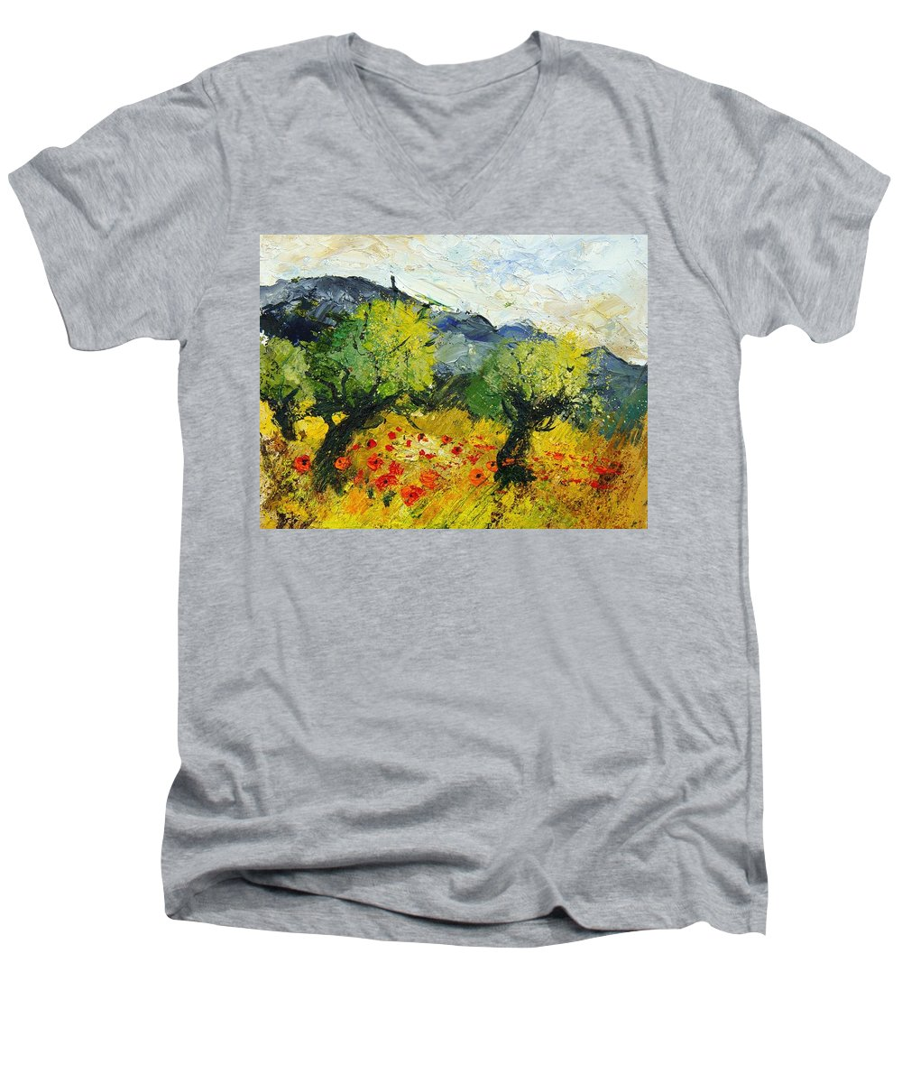 Flowers Men's V-Neck T-Shirt featuring the painting Olive Trees And Poppies by Pol Ledent