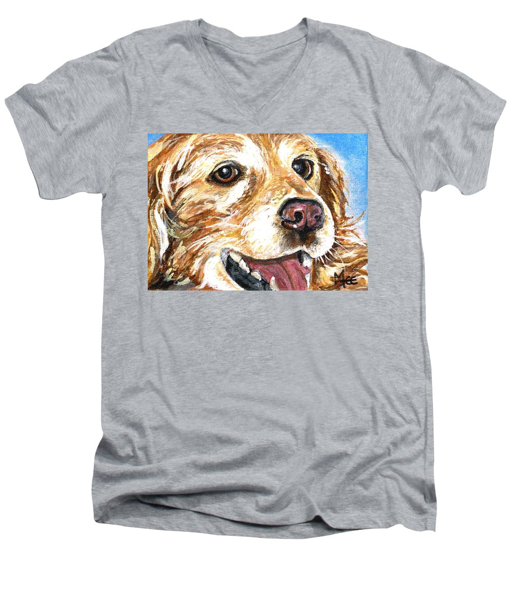Charity Men's V-Neck T-Shirt featuring the painting Oliver From Muttville by Mary-Lee Sanders