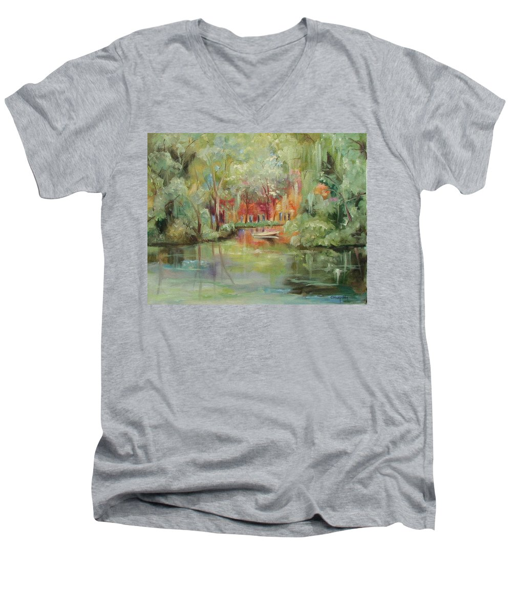 Bayou Men's V-Neck T-Shirt featuring the painting On A Bayou by Ginger Concepcion