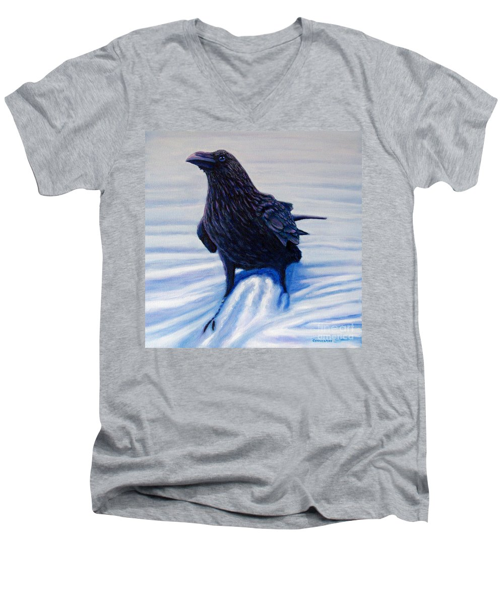 Raven Men's V-Neck T-Shirt featuring the painting On Canyon Road by Brian Commerford