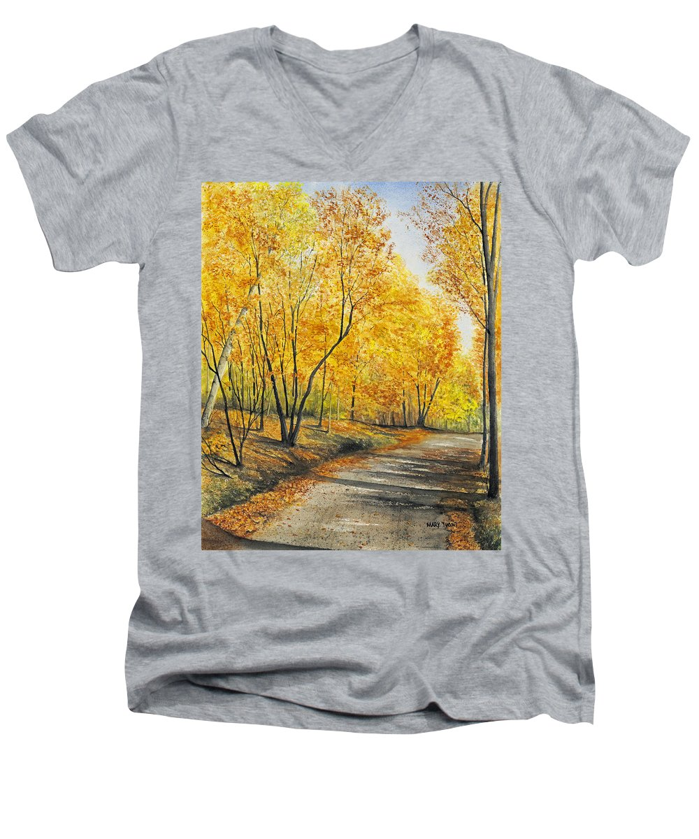 Autumn Men's V-Neck T-Shirt featuring the painting On Golden Road by Mary Tuomi