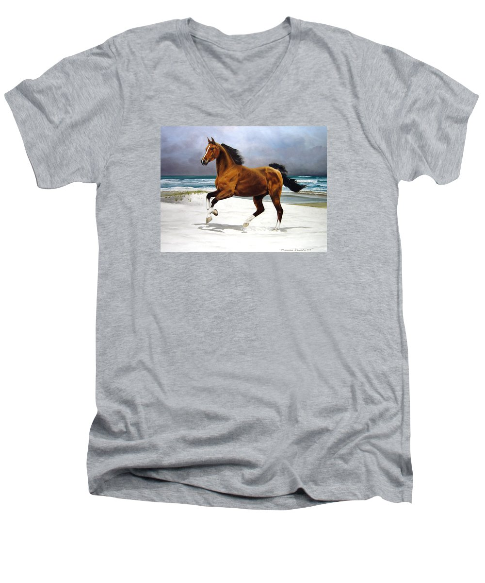 Horse Men's V-Neck T-Shirt featuring the painting On The Beach by Marc Stewart