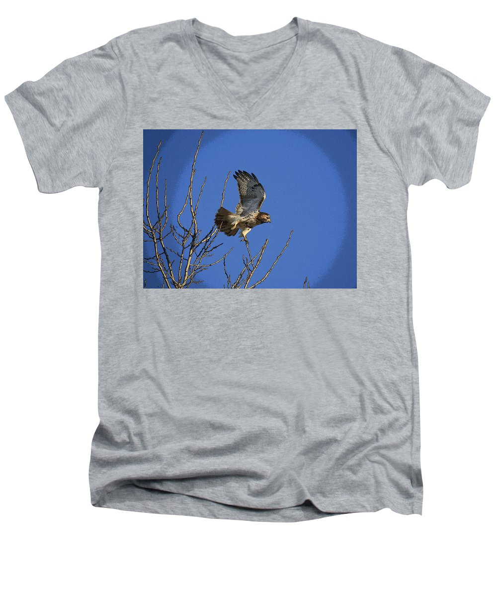 Hawk Men's V-Neck T-Shirt featuring the photograph On The Move by Robert Pearson
