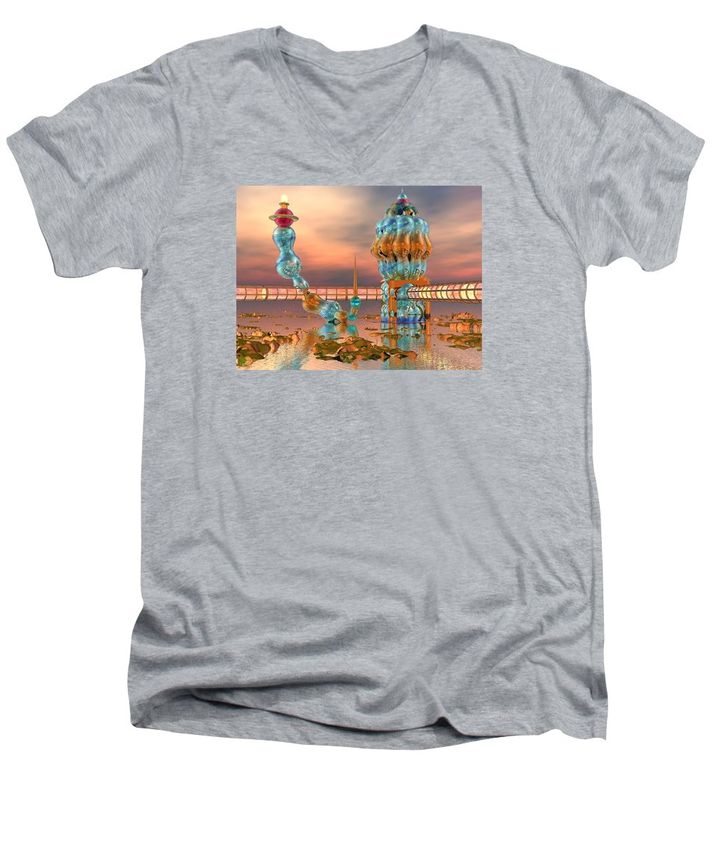 Landscape Men's V-Neck T-Shirt featuring the digital art On Vacation by Dave Martsolf